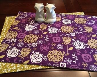 Purple Floral Placemats - Set of 4 Placemats - Reversible Placemats - Purple and Green Placemats