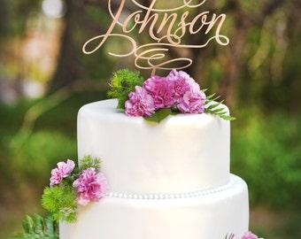 Mr & Mrs Custom Name Wedding Cake Topper