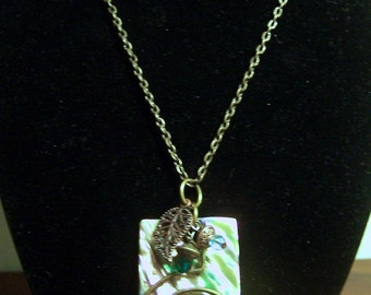 Abalone Tab with brass spiral & bling necklace