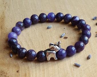 Lepidolite Bracelet Elephant Bracelet Ganesha Bracelet Elephant Jewelry Stone Stretch Bracelet Gemstone Stretch Bracelet