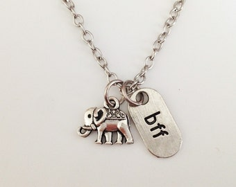 elephant necklace - bff necklace - friendship necklace - animal necklace - best friend necklace - girlfriend gift