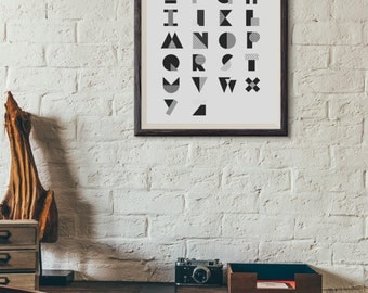 Abstract Alphabet : Wall Decor Typography Print Scandinavian Poster
