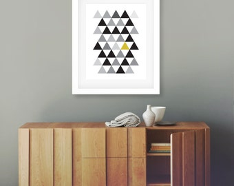 Geometric Yellow, Printable, 8x10, Wall Art, Scandi