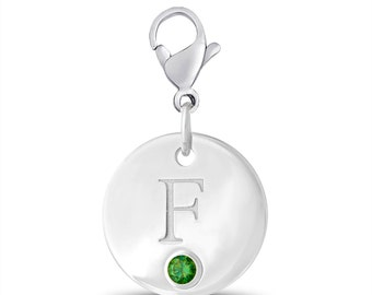 Initial F Disc Charm With Personalized Birthstone In Sterling Silver