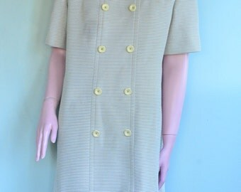 SALE Vintage 1960's Striped Shift Dress with Buttons sz. 12/14