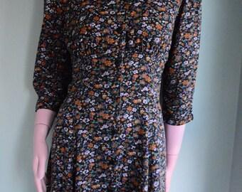 SALE Vintage 90's Black Floral Dress sz.4/6