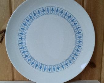 Homer Laughlin Blue Fleur De Lis Platter - 12.5 inch Diameter -  Vintage 1960s