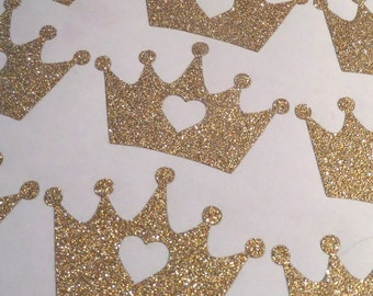 33 Gold Glitter Crown stickers with heart, gold crown, princess party decoration, gold envelope seal