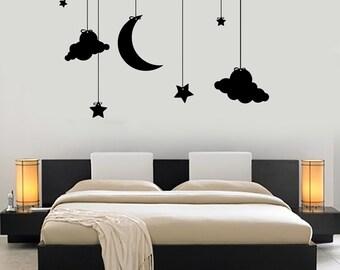 Wall Vinyl Decal Romantic Bedroom Moon Stars Cloud Night Kids Decor Mural Art 1480dz