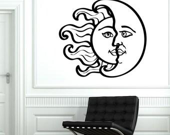 Wall Vinyl Sun Moon Magic Decal For Bedroom Mural Vinyl Decal Sticker 1776dz