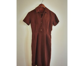 70s brown pleated casual dress