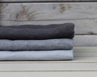 Linen bath / hand / face towels. Set of 3. Ash Grey/Graphite/Silver Grey. Hand made by LinenSky.
