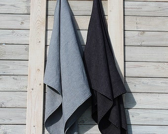 Linen bath / hand / face towels. Set of 2. Ash Grey/Charcoal. Hand made by LinenSky.