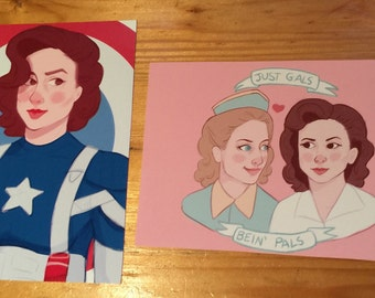 Postcard-Size Prints Captain America Peggy Carter Agent Carter Cartinelli SINGLE POSTCARD