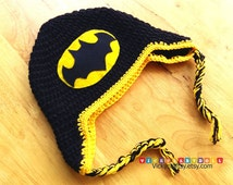 Handmade Batman Hat, Baby Batman Hat, Crochet Batman Beanie