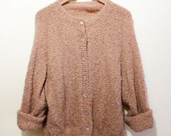 Blush Color 90's Fuzzy Button-up Cardigan