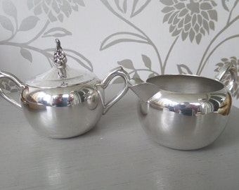 Silver Plated Creamer and Sugar Bowl, F B Rogers, Paul Revere Reproduction, Excellent Condition
