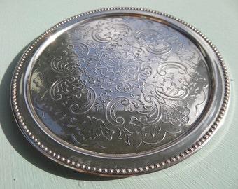 "FREE SHIPPING Silver Plated Coaster, IANTHE Ian Heath Birmingham England, Mid Century, 3.5"""