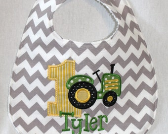 Boy's First Birthday Bib  - With Tractor and 1.  Includes personalization.