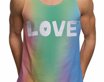 Mens Love Slogan Gay Pride Tank Top For Festival Gym Summer Ibiza Holiday Fashion