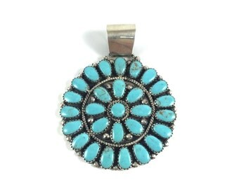 Handmade Native American Navajo Sterling Silver Turquioise Pendant