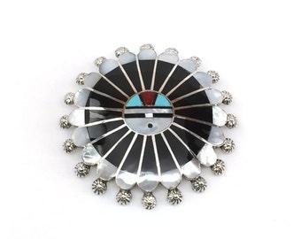 Handmade Native American Zuni Sterling Silver Sunface Multi Stone Pin-Pendant