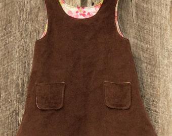 Brown corduroy jumper, little girl's jumper, size 2, girl's jumper dress