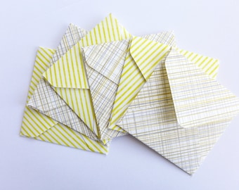 Yellow and Gray Mini Envelopes, Handmade Envelopes, Square Envelopes, Love Note, Gift Card, Mini Note Cards, Blank Cards