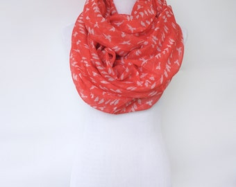 Red Infinity Scarf with White Bird Print, Spring Fashion Scarf, Women's Scarf, Gift For Her, Boho Shawl, Bohemian Accessories