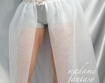 Long White Corset Style lace up top net tutu skirt
