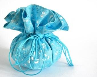 Blue drawstring Pouch, Drawstring bag, Blue drawstring Bag, Jewelry Pouch, jewellery bag, Blue Pouch, Small Blue bag, Blue Bag.