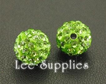 10pcs Polymer Clay Peridot Rhinestone Crystal Pave Disco Ball Beads
