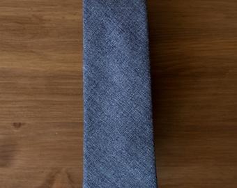 men's necktie - cotton/wool blue & navy texture