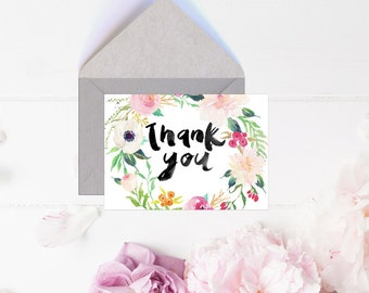 Thank You Cards, Instant Download, Floral, Watercolor, Flower, Digital Thank You Card