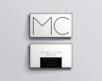 Business card template / printable business card / Black and white business card design / Business card (minimal design )