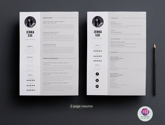 minimal 2 page resume design    2 page cv template cover