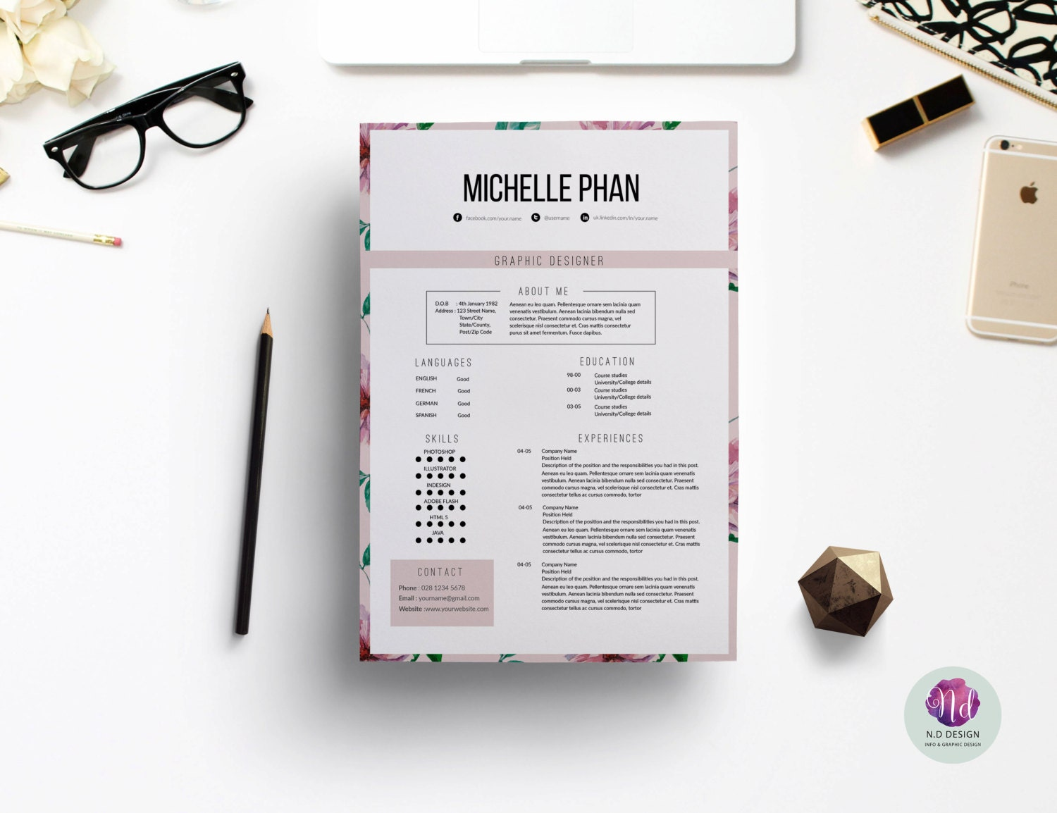 floral resume watercolor floral cv template cover letter reference template 1 page resume professional cv elegant resume creative cv
