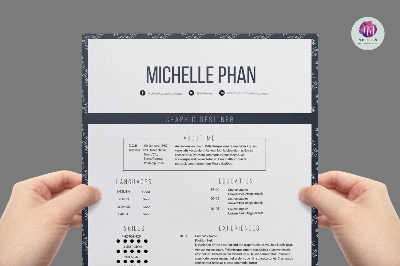 floral resume elegant cv template cover letter reference letter templates 1 page resume creative cv design professional resume