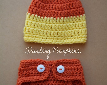 Candy Corn Set Beanie and Diaper Cover
