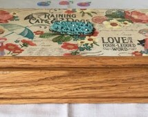 Love is a 4 Legged Word, Up cycled Small Oak Jewelry Box, Decoupage Raining Cats and Dogs