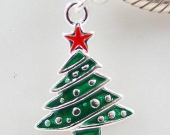 Christmas Tree Antique Silver Bead Dangle Charm, fits Trollbeads, Vivara Bracelets