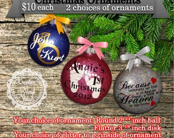 Personalized Glass Glittered Christmas Ornaments