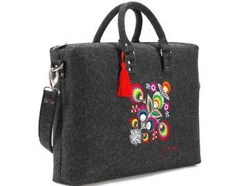 Felt 17 '' laptop bag, computer briefcase, flower shoulder bag, grey suitcase, macboog sleeve bohemian floral bag notebook russian suitcase