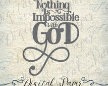Nothing Is Impossible with God Bible Verse SVG DXF Studio Cutting File Instant Download Cricut Silhouette Cameo Digital Vinyl Cut Clip Art