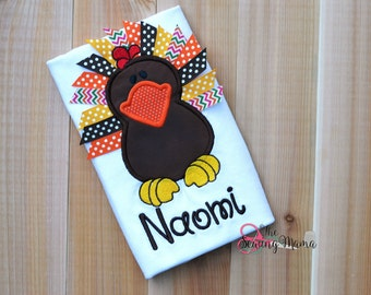 Ribbon Turkey Applique Shirt or Bodysuit-NAME Included