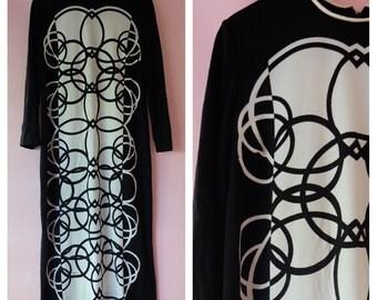 Mod 60s Black and White Geometric Print Maxi Dress,  Mr. Dino Dress, Color Blocking, 60s Retro, Vintage Dress