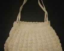 1920's Crocheted Handbag /  20s Purse in Cream / Flapper Purse / Great Gatsby Era