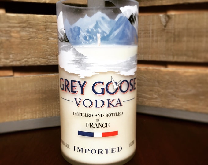 Recycled Grey Goose Vodka Bottle Candle