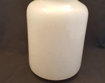 Large Vintage Bubble Glass White Vase
