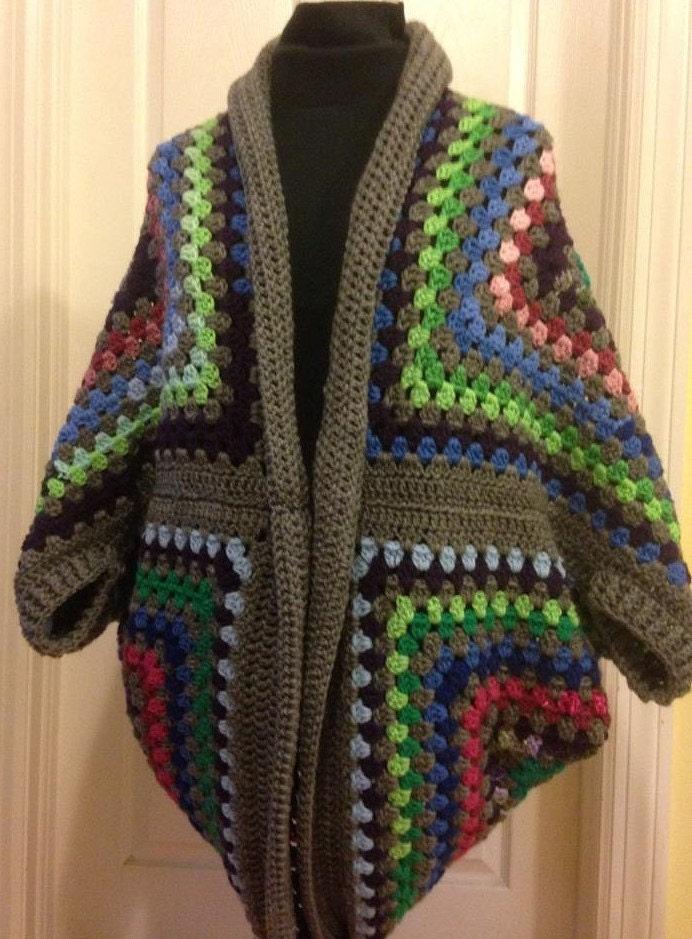 Free Crochet Cocoon Sweater Pattern : Granny Square Cocoon Sweater Cardigan Shrug Crochet Shrug